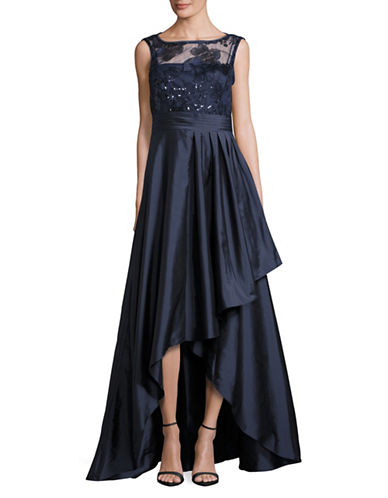 Adrianna Papell Sequin Lace and Taffeta Hi-Lo Gown-BLUE-4