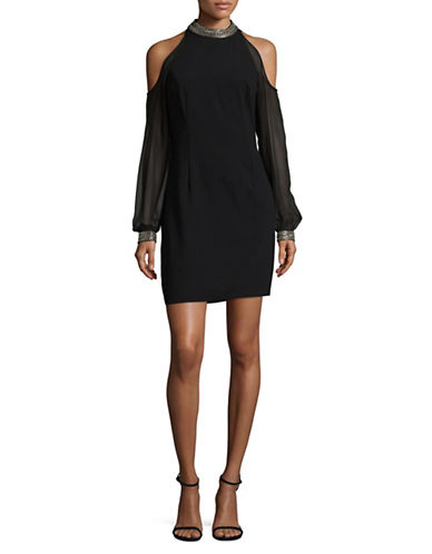 Aidan Aidan Mattox Long Sleeve Cold Shoulder Bead Neck Dress-BLACK-8