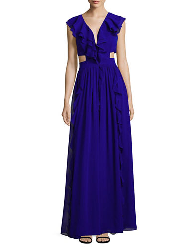 Aidan Aidan Mattox Ruffled Side Cut-Out Flared Gown-BLUE-10
