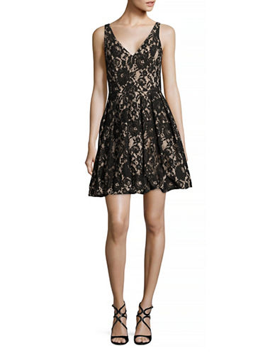 Aidan Aidan Mattox V-Neck Lace Fit-and-Flare Dress-BLACK-4