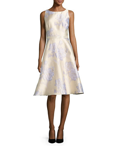 Adrianna Papell Beaded Floral Brocade Fit-and-Flare Dress-SILVER-6