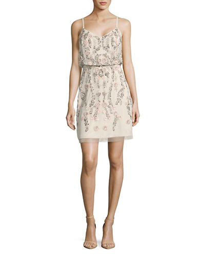 Adrianna Papell Beaded Floral Shift Dress-IVORY-14