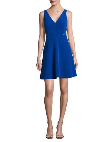 Aidan Aidan Mattox V-Neck Illusion Fit-and-Flare Dress-BLUE-8