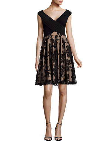 Adrianna Papell Embroidered Fit-and-Flare Dress-BLACK/PINK-8
