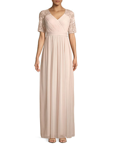 Adrianna Papell Sequined Mesh-Sleeve Wrap Gown-BLUSH-0