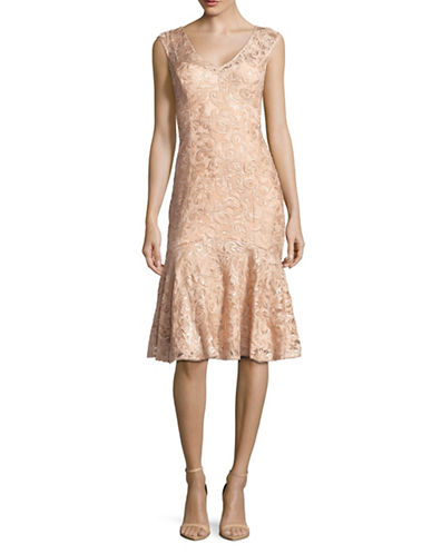 Adrianna Papell Sequined Lace Flounce-Hem Dress-PINK-12
