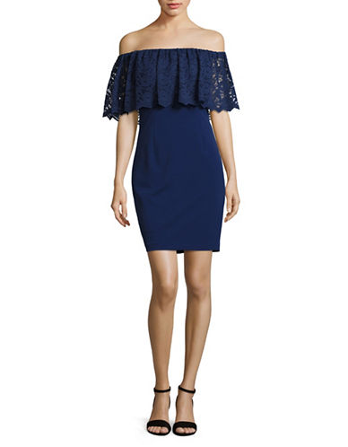 Aidan Aidan Mattox Off-Shoulder Lace-Ruffle Sheath Dress-BLUE-4