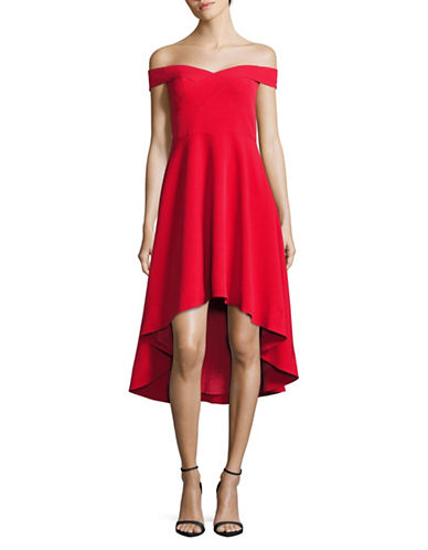 Aidan Aidan Mattox Hi-Lo Off-Shoulder Sweetheart Dress-RED-6