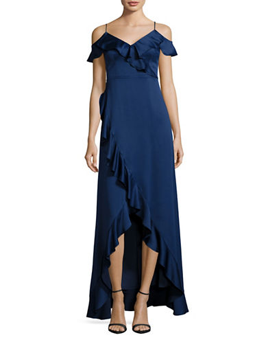Aidan Aidan Mattox Ruffle Cap Sleeve Exposed Shoulder Gown-NAVY-0