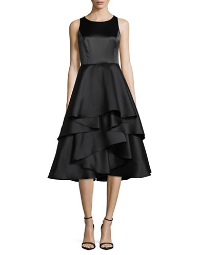 Adrianna Papell Sleeveless Layered Ruffle Fit-and-Flare Dress-BLACK-8