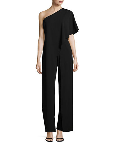 Adrianna Papell One Shoulder Overlay Jumpsuit-BLACK-6