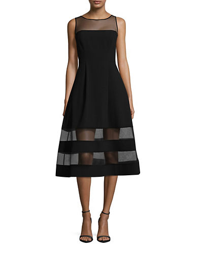 Aidan Aidan Mattox Sleeveless Illusion Top Fit-and-Flare Cocktail Dress-BLACK-4