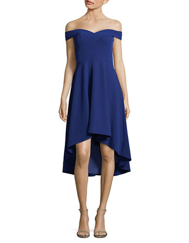 Aidan Aidan Mattox Off-The-Shoulder Sweetheart Crepe Dress-NAVY-8