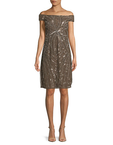 Adrianna Papell Off-The-Shoulder Sequin Dress-PINK-12