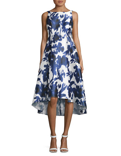 Adrianna Papell Floral Printed Hi-Lo Dress-BLUE-2