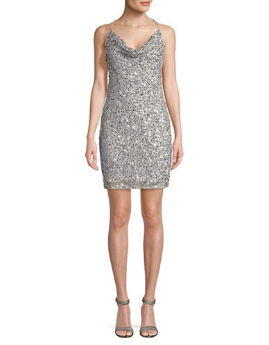 Adrianna Papell Sequined Bodycon Dress-SILVER-6