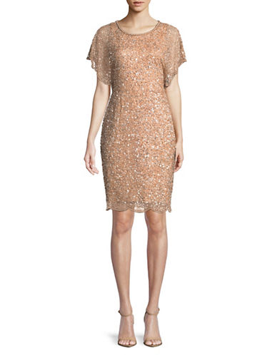 Adrianna Papell Blouson Sequin Sheath Dress-PINK-10
