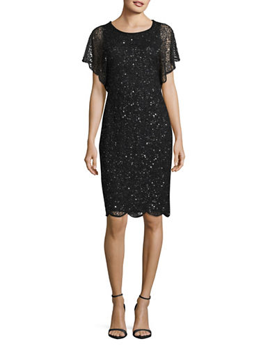 Adrianna Papell Blouson Sequin Sheath Dress-BLACK-6