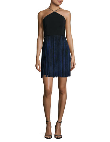 Aidan Aidan Mattox Crepe and Fringe Halter Dress-BLACK/NAVY-2