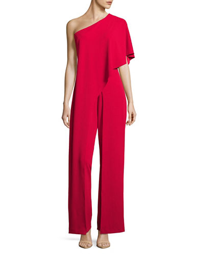 Adrianna Papell One Shoulder Overlay Jumpsuit-RED-14