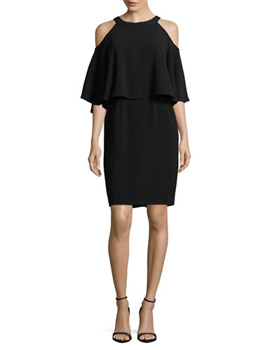 Adrianna Papell Ruffle Overlay Cold Shoulder Dress-BLACK-6