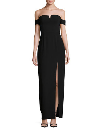 Aidan Aidan Mattox Off-Shoulder Crepe Gown-BLACK-10
