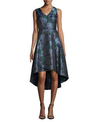 Adrianna Papell Brocade Hi-Lo Dress-BLUE-8