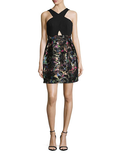Aidan Aidan Mattox Halter Crossover Fit-and-Flare Cocktail Dress-BLACK MULTI-10