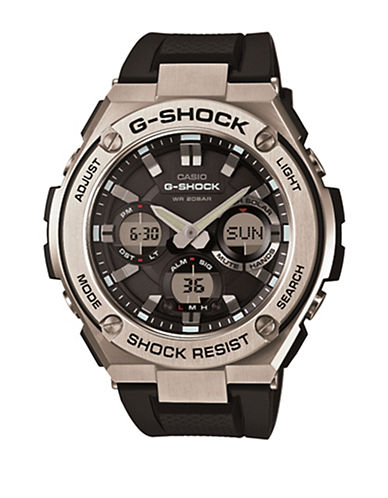 Casio G Steel Analog Metal Resin Watch-BLACK-One Size