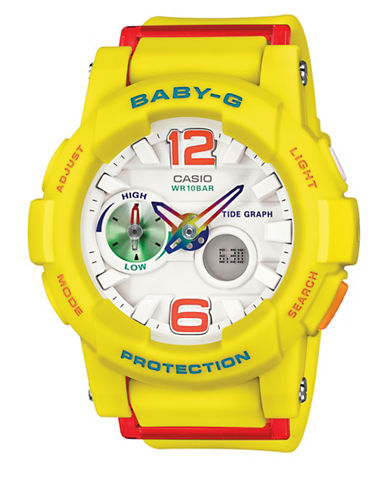 Casio Baby-G Tide Graph Analog Watch-YELLOW-One Size