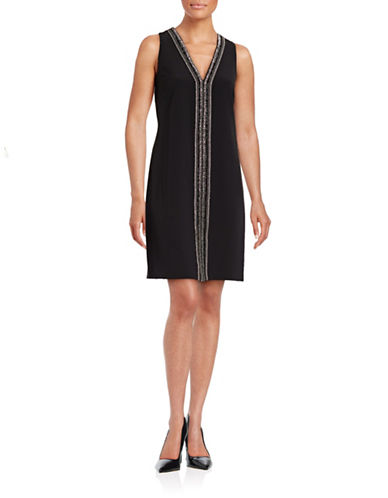 Laundry By Shelli Segal Beaded Placket Sheath Dress-BLACK-4