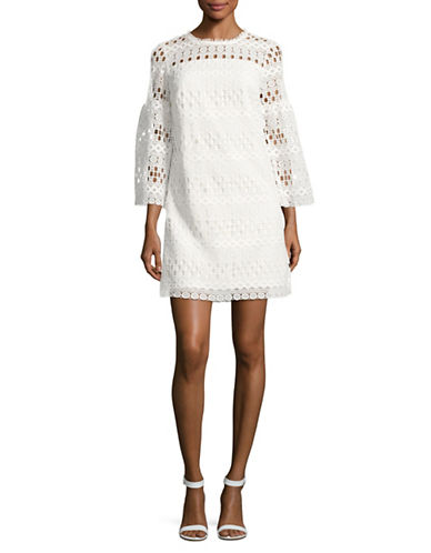 Laundry By Shelli Segal Crochet Trapeze Dress-WHITE-0