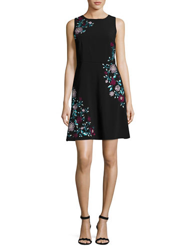 Laundry By Shelli Segal Embroidered A-Line Dress-BLACK-0