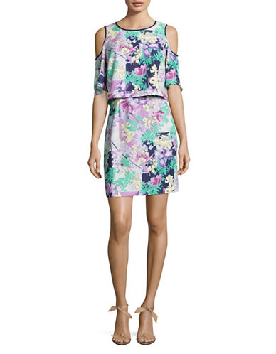 Laundry By Shelli Segal Printed Cold-Shoulder Dress-ROSEBUD-8