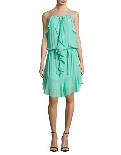 Laundry By Shelli Segal Ruffle Blouson Dress-GREEN-0
