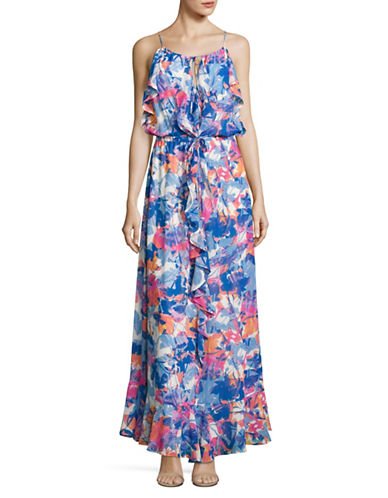 Laundry By Shelli Segal Floral Ruffle Maxi Dress-MULTI-12