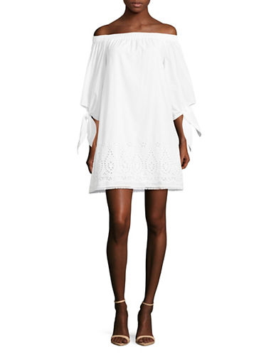 Laundry By Shelli Segal Off-The-Shoulder Eyelet Shift-WHITE-8
