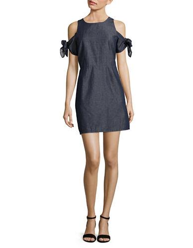 Laundry By Shelli Segal Linen-Blend Cold-Shoulder Dress-BLUE-10