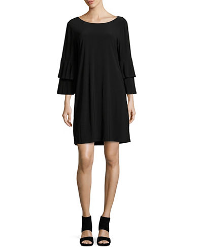 Laundry By Shelli Segal Bell Sleeve Shift Dress-BLACK-Medium