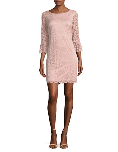 Laundry By Shelli Segal Bell Sleeve Lace Dress-PINK-Small