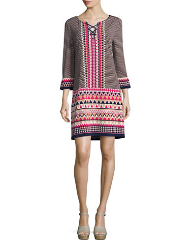 Laundry By Shelli Segal Printed Lace-Up Dress-ASSORTED-Large