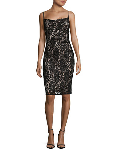 Laundry By Shelli Segal Lace Slip Dress-BLACK/BLUSH-4