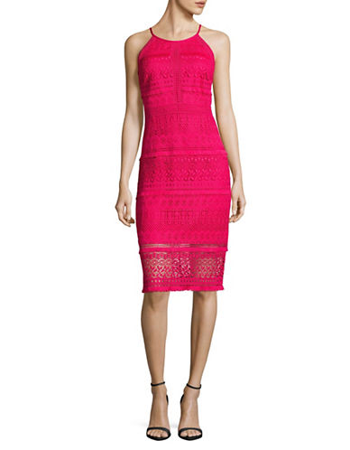 Laundry By Shelli Segal Fringe-Hem Lace Midi Dress-ROSE-2