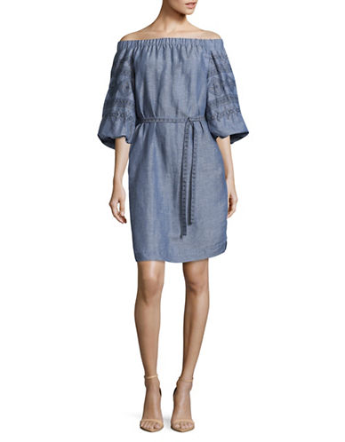 Laundry By Shelli Segal Chambray Embroidered Off-Shoulder Dress-CHAMBRAY-12