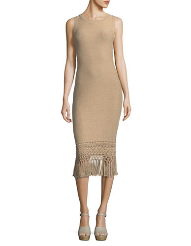 Laundry By Shelli Segal Sleeveless Sweater Dress with Fringing-BEIGE-Medium