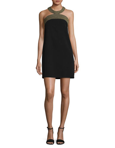 Laundry By Shelli Segal Embroidered Neckline Shift Dress-BLACK-10