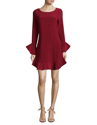 Laundry By Shelli Segal Ruffle Sleeve and Hem Shift Dress-RED-4