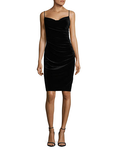 Laundry By Shelli Segal Skinny Straps Velvet Bodycon Dress-BLACK-6