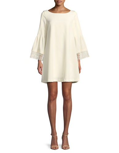 Laundry By Shelli Segal Lace-Trimmed Shift Dress-WHITE-10