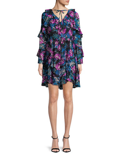 Laundry By Shelli Segal Floral Georgette Dress-BLACK MULTI-0
